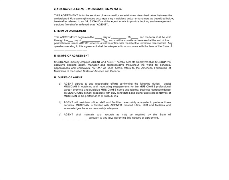 exclusive musician agent contract1
