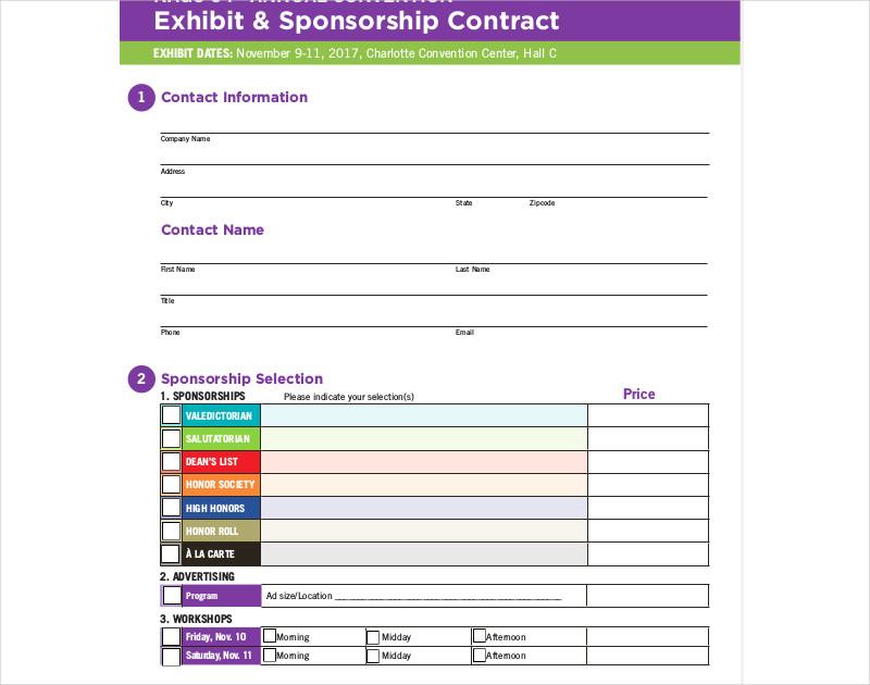 exhibit sponsorship contract