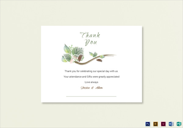 fall wedding thank you card template