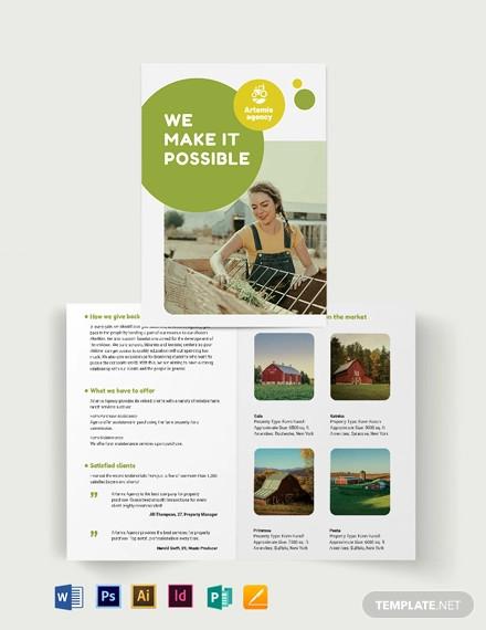 farm ranch sale bi fold brochure template