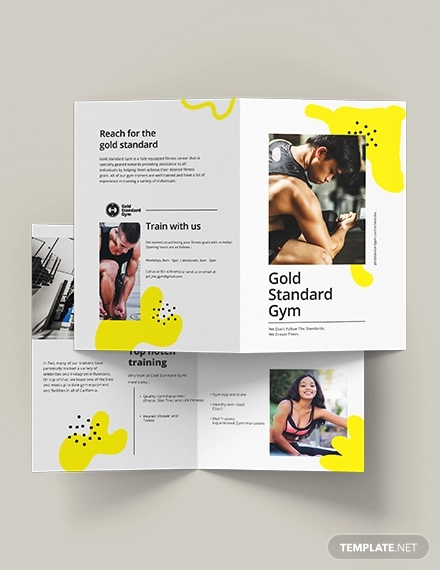 fitness bi fold brochure template