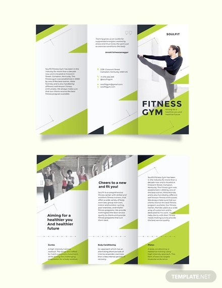 fitness gym tri fold brochure template