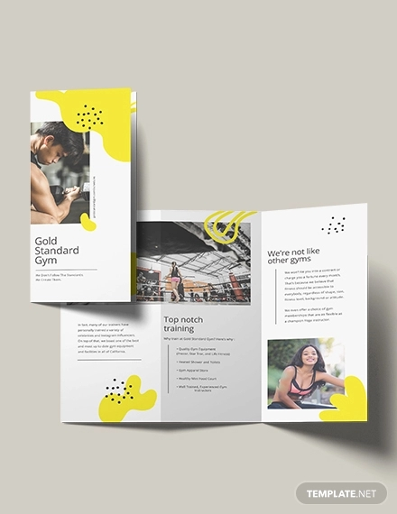 fitness tri fold brochure template