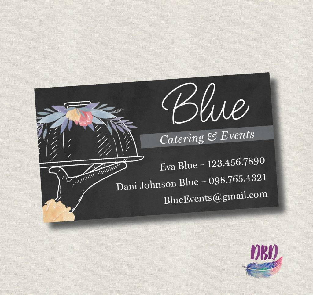 floral chalkboard catering business card