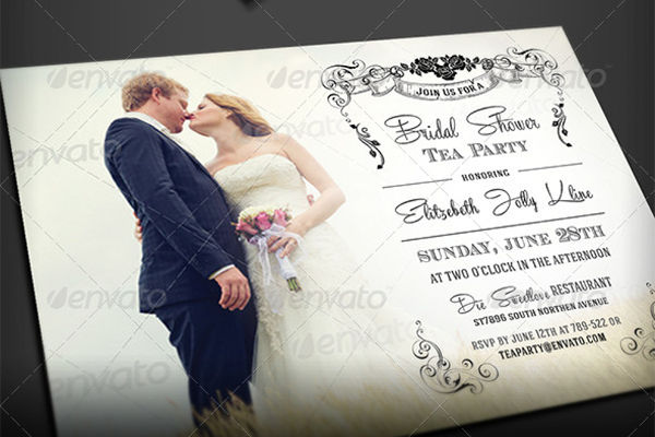 flower royal bridal tea party invitation