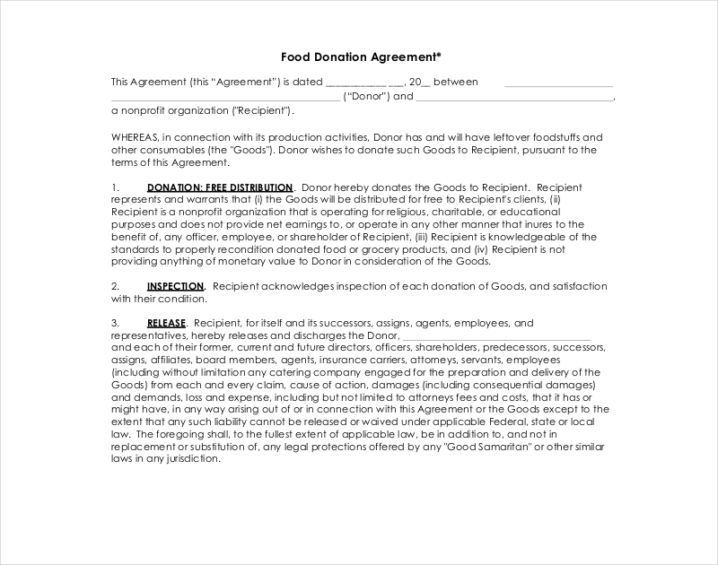 food donation agreement