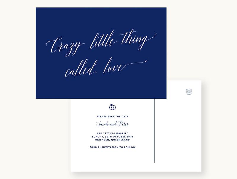 formal blue wedding invitation