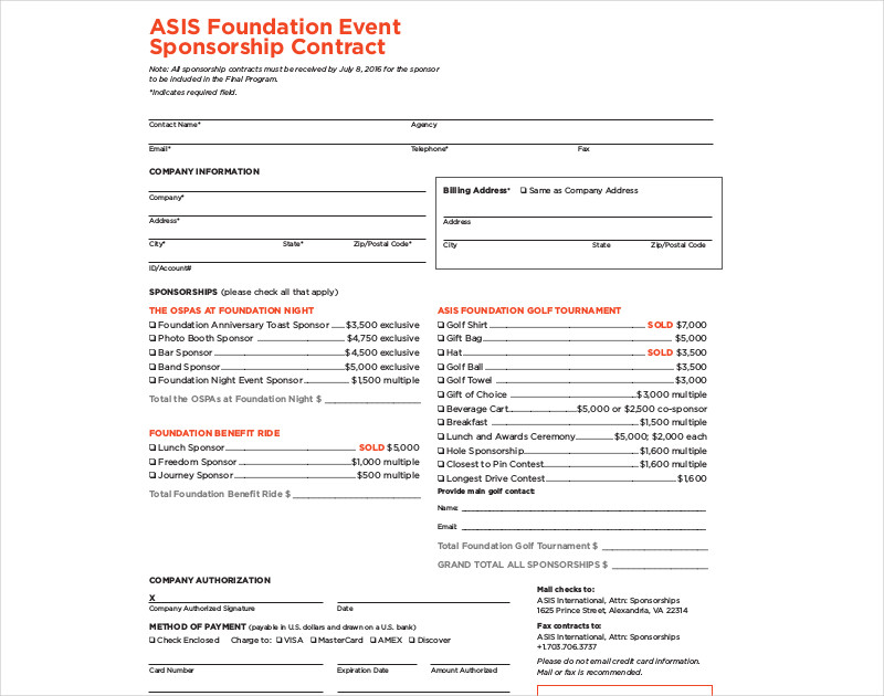 foundation event sponsorship contract