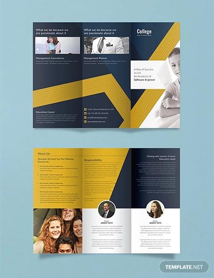 free college tri fold brochure template