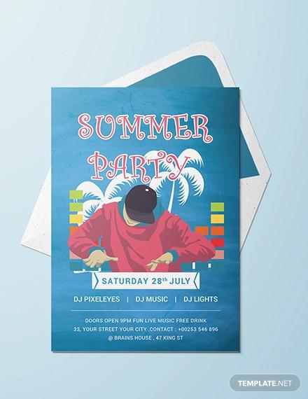 free dj summer party invitation template