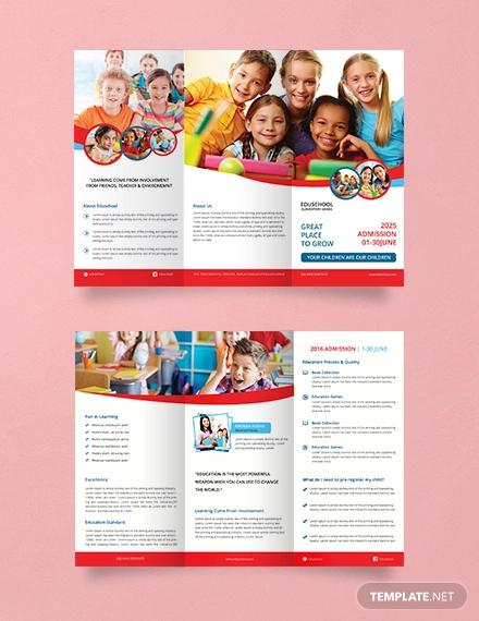 free elementary school tri fold brochure template