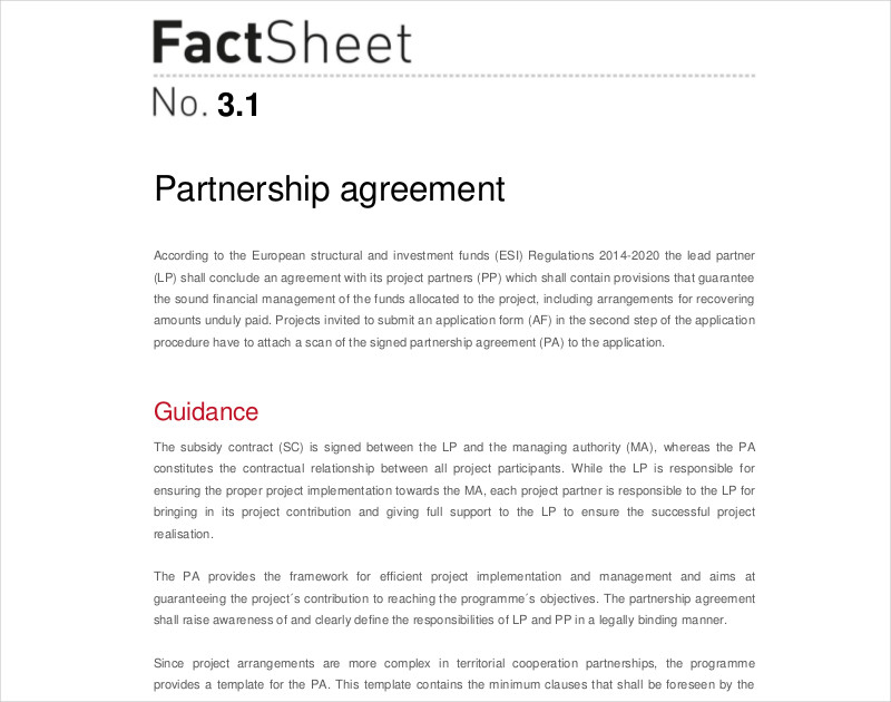 free partnership agreement