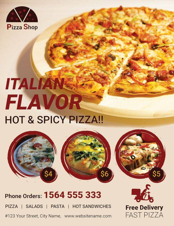 free pizza shop flyer template 600