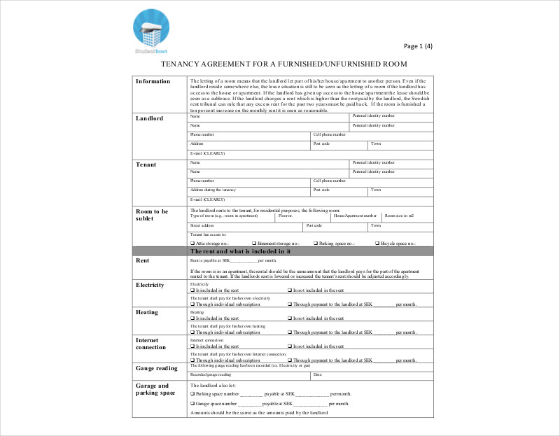 furnished tenancy agreement