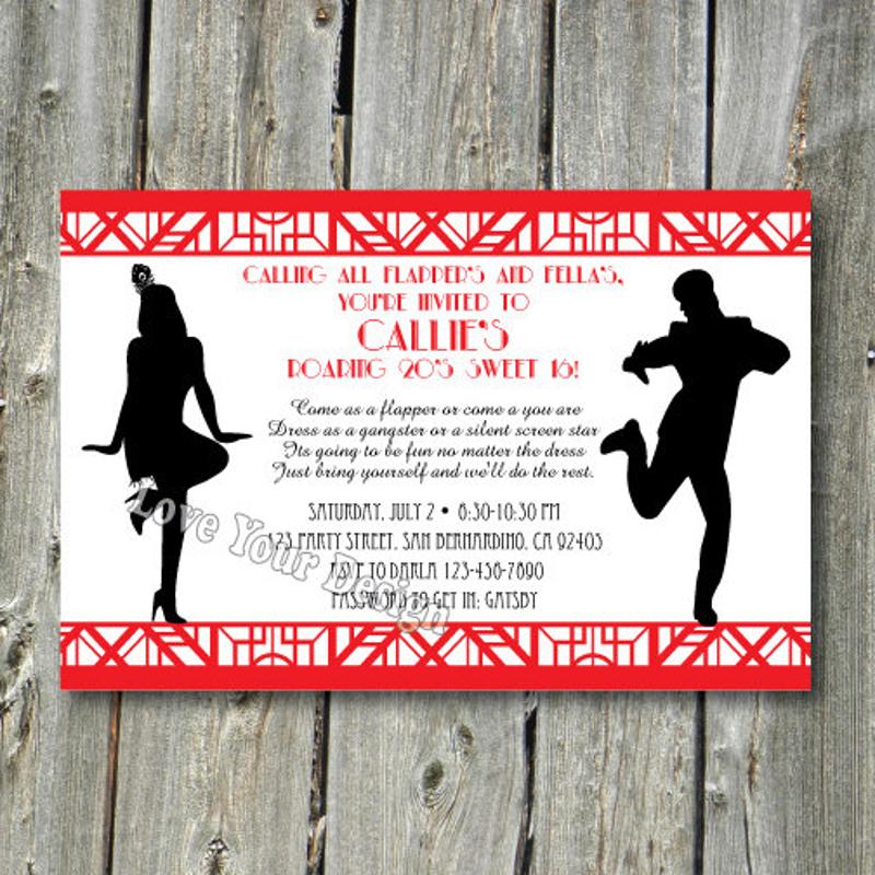 gatsby couple party invitation