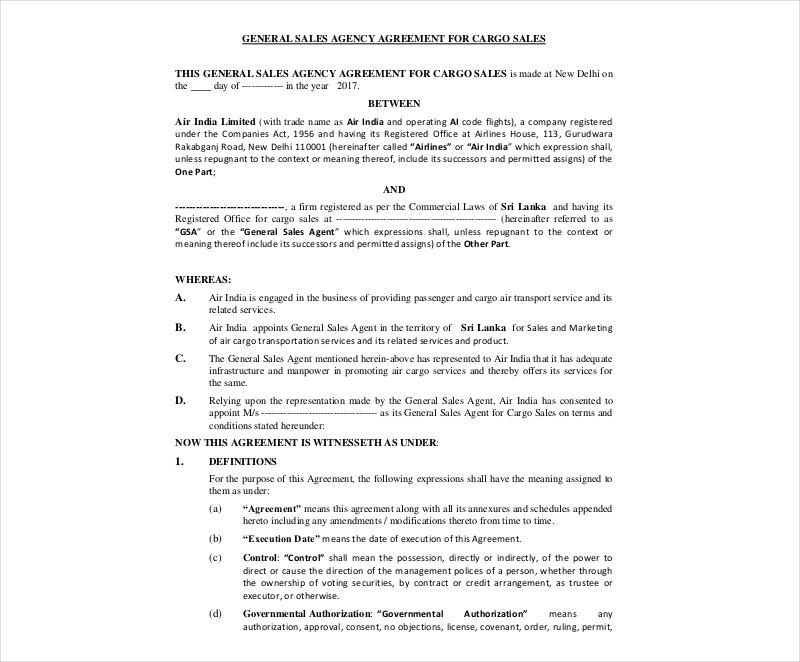 general sales agency agreement