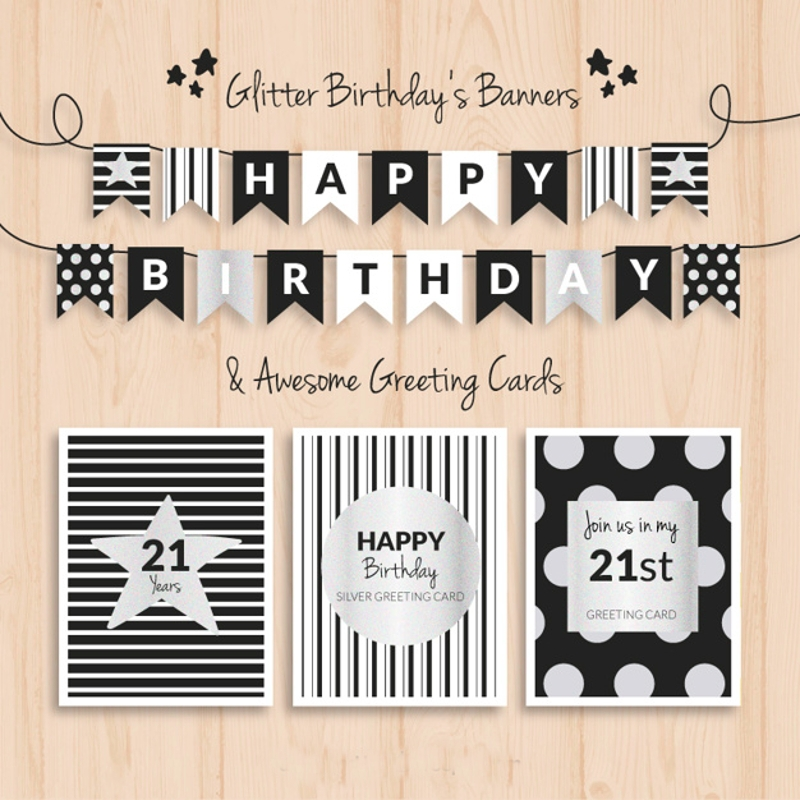 glitter birthday banner design