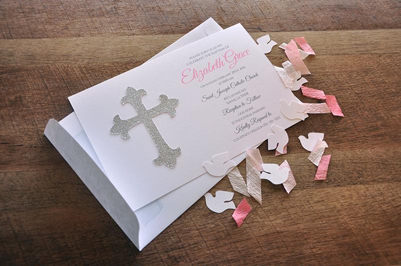 glitter christening invitation