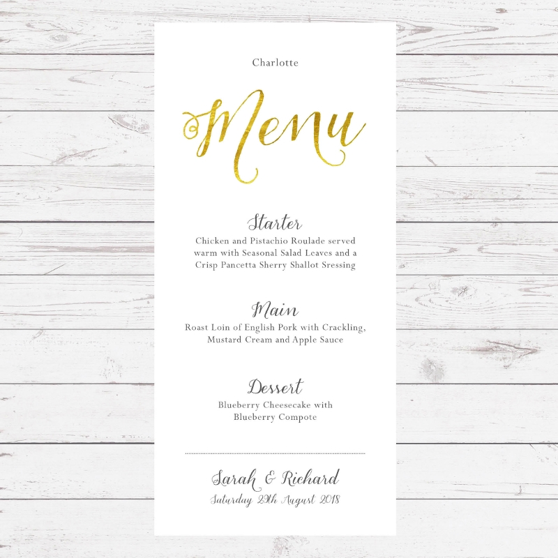 gold foil wedding breakfast menu1