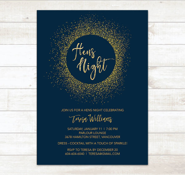 gold glitter hens party invitation