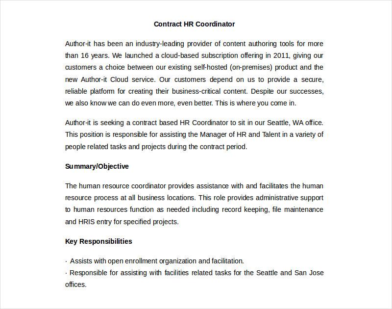 hr coordinator contract
