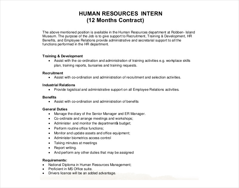 hr intern contract
