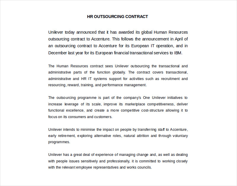 hr outsourcing contract in word