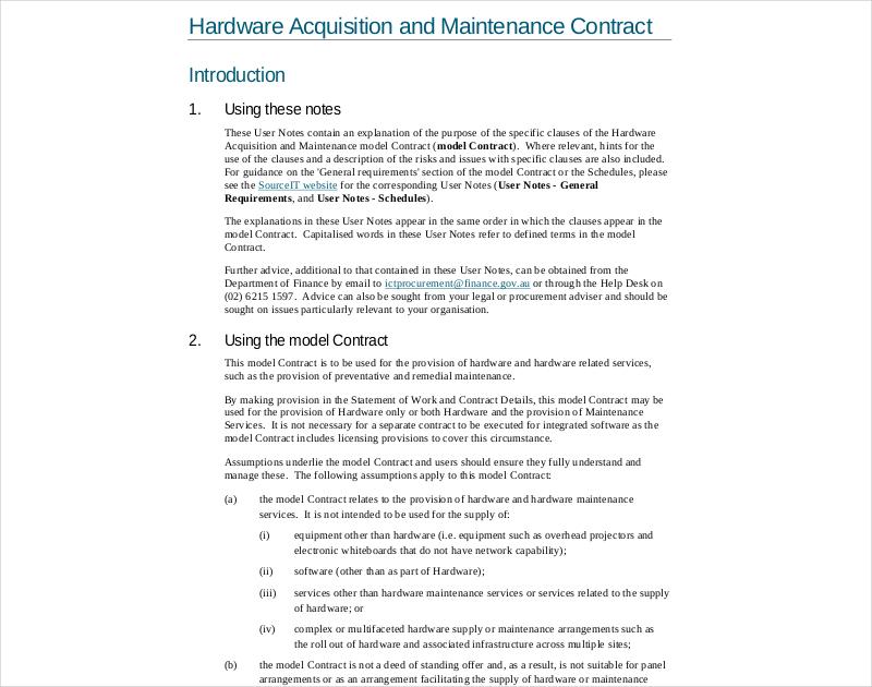 hardware maintenance contract