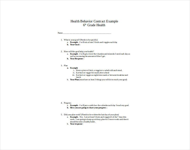 health behavior contract example1