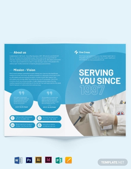 health fair bi fold brochure template