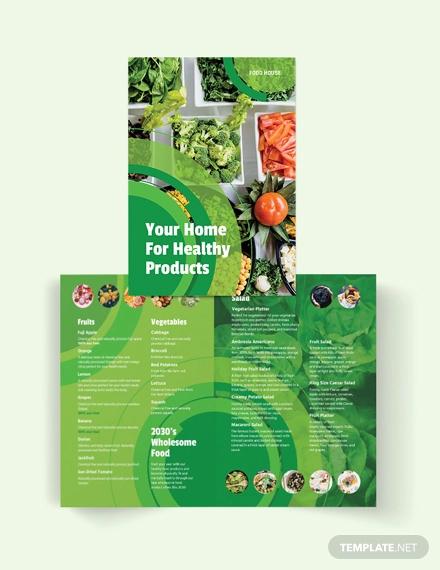 healthy food bi fold brochure template