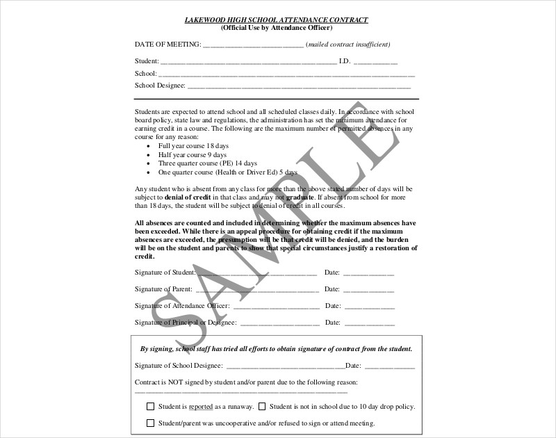 high school attendance contract