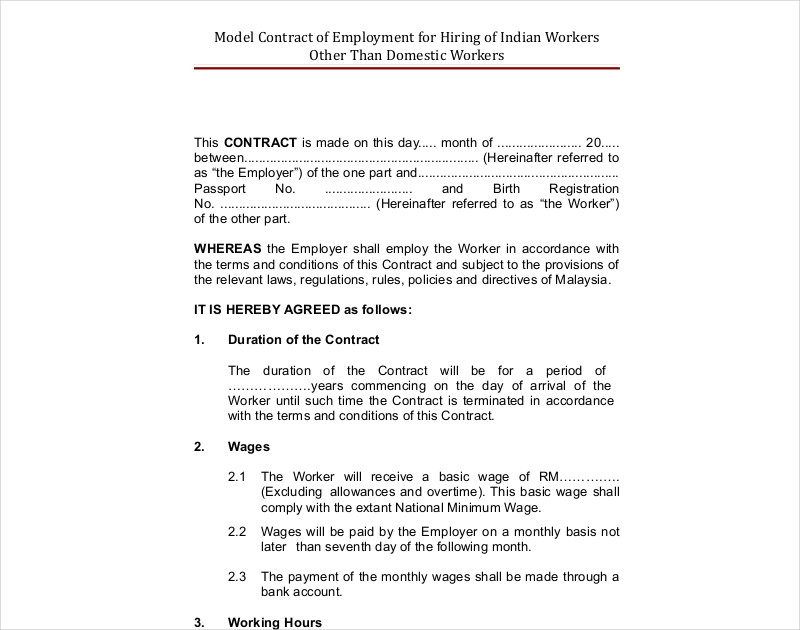 hiring contract example