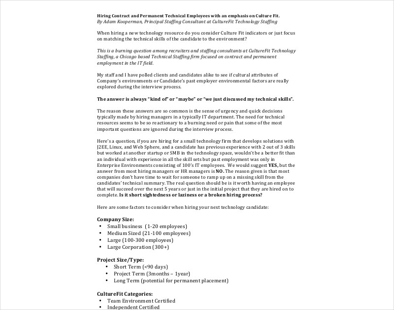 hiring contract for employee