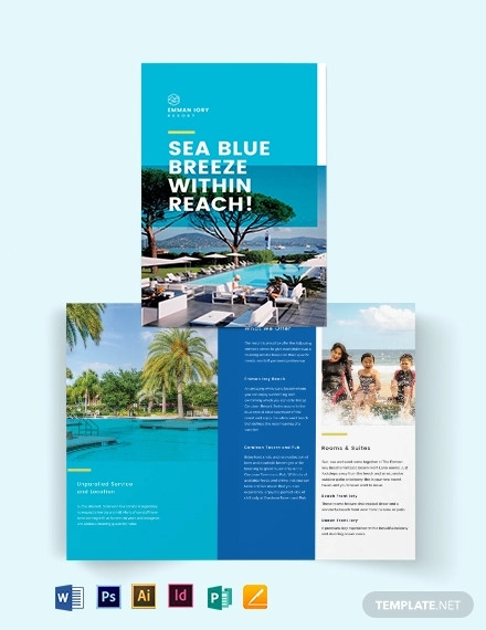 holiday resort bi fold brochure template1