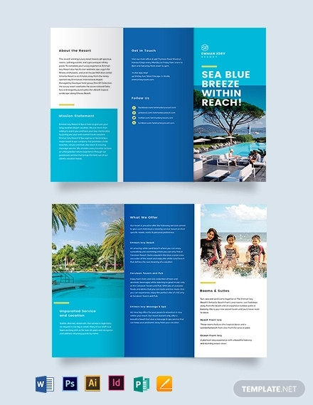 holiday resort tri fold brochure template1