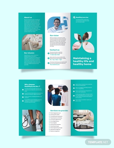 home healthcare tri fold brochure template