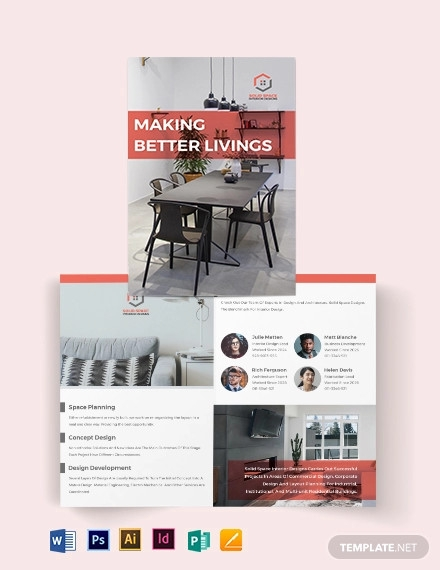 home interior bi fold brochure template