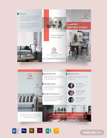 home interior tri fold brochure template