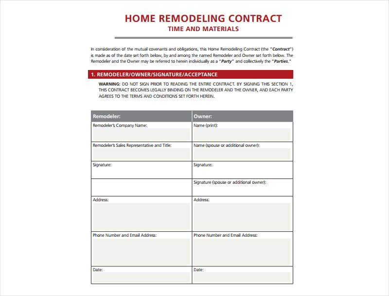 Contract For Home Remodeling