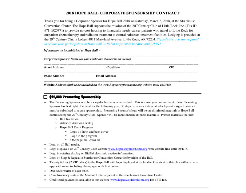hope ball corporate sponsorship contract