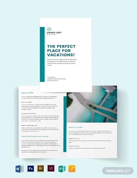 hotel resort bi fold brochure template