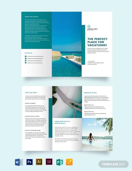 hotel resort tri fold brochure template1