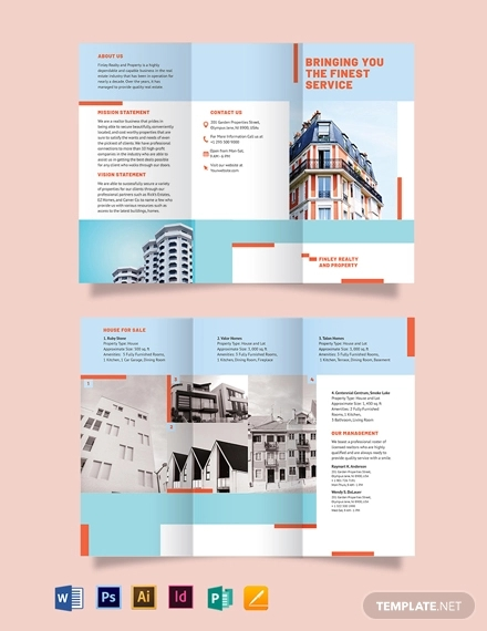 house realtor tri fold brochure template