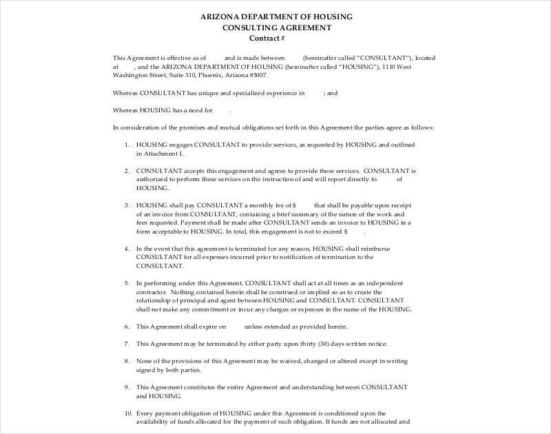 housing consulting agreement