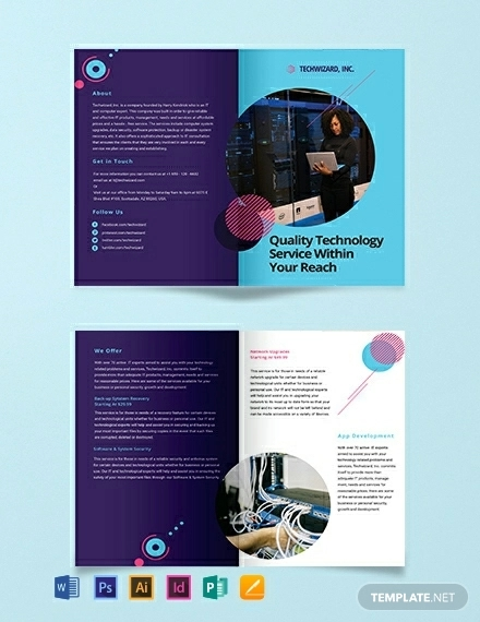 it company bi fold brochure template