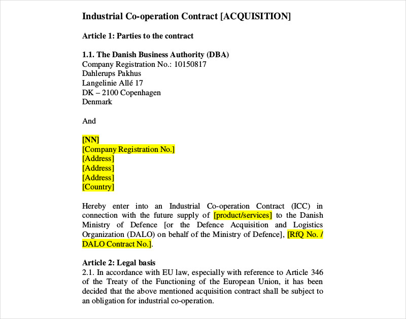 industrial co operation contract
