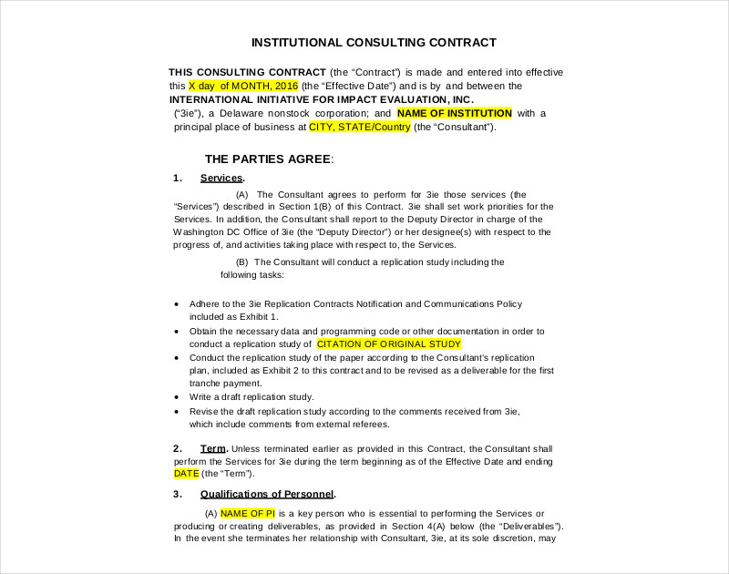 institutional consulting contract1