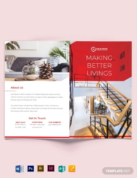 interior studio bi fold brochure template