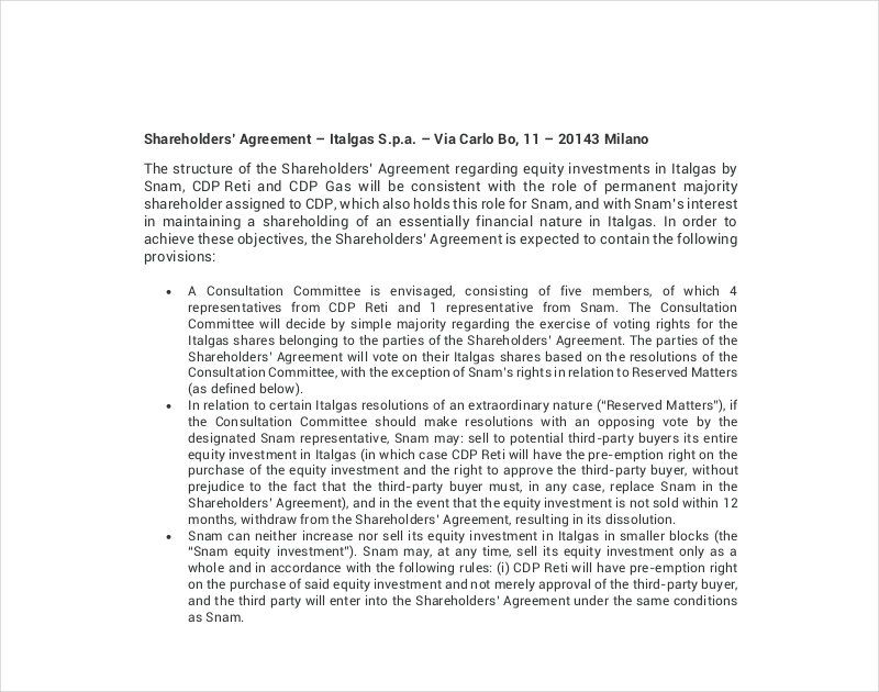 investment shareholders agreement